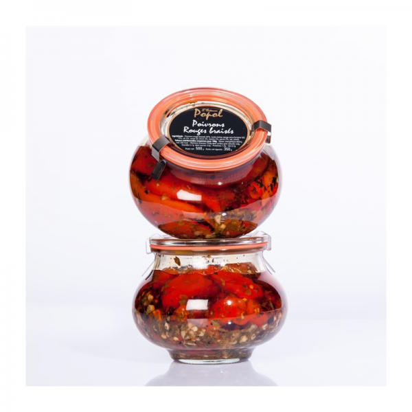Glas Geschmorte rote Paprika